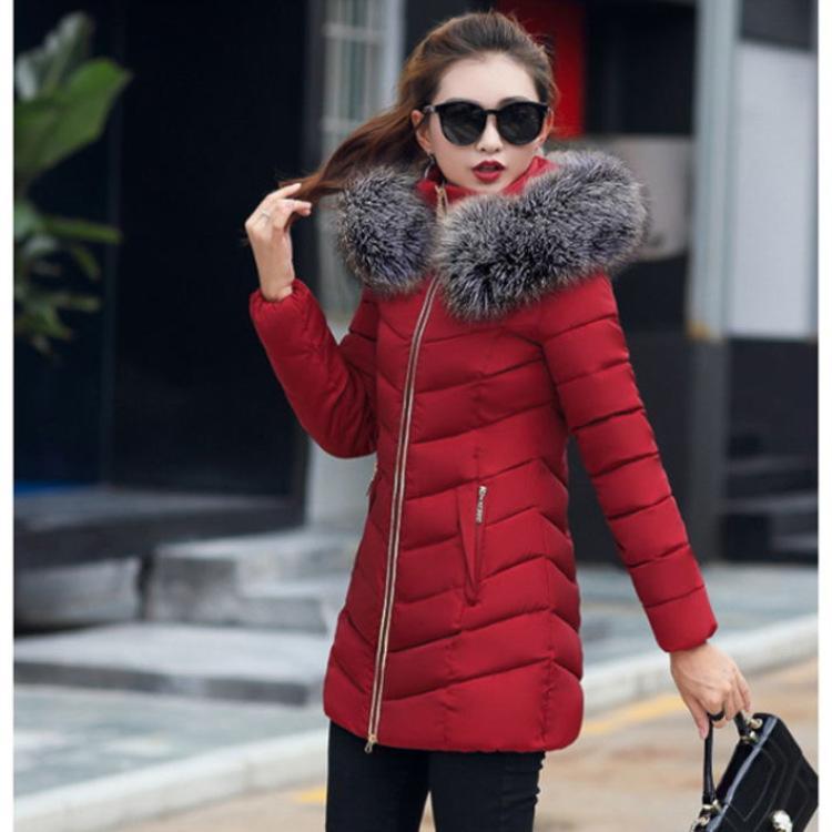 femmes veste hiver 2019 manteau femme femme capuche Slim Outwear longue parka fourrure de renard Faux coton rembourré abrigos mujer Invierno