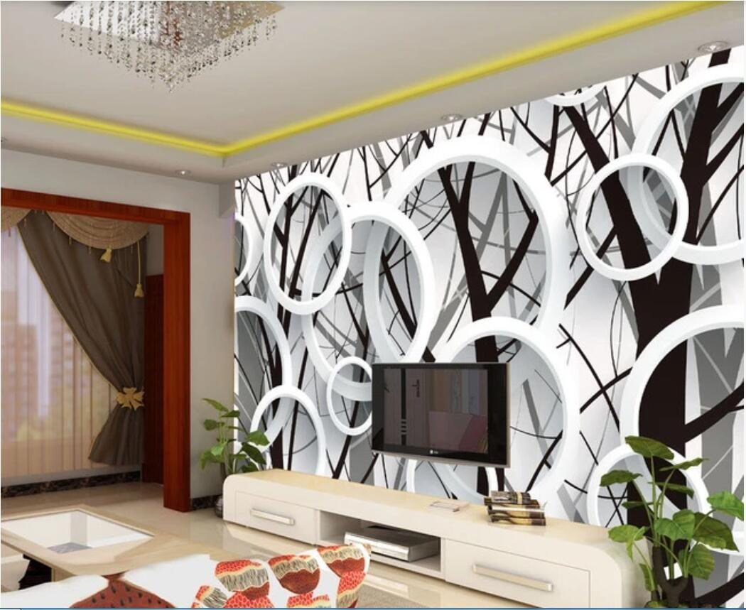 3d carta da parati foto su ordinazione murale Branch silhouette 3D parete di sfondo cerchio della moda per le pareti 3 d