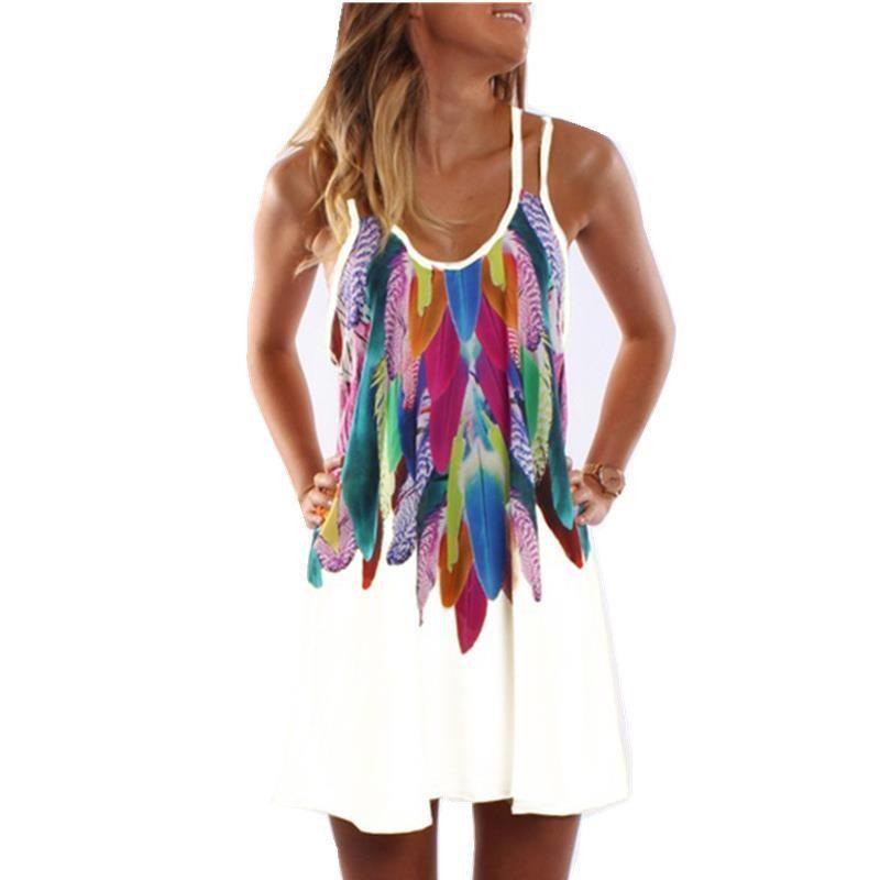 Women Fashion 2017 Boho Style Sexy Printed Plus Size Women Clothing Casual Summer Beach Femme Robe Vestidos Dress Ws804y Y190515