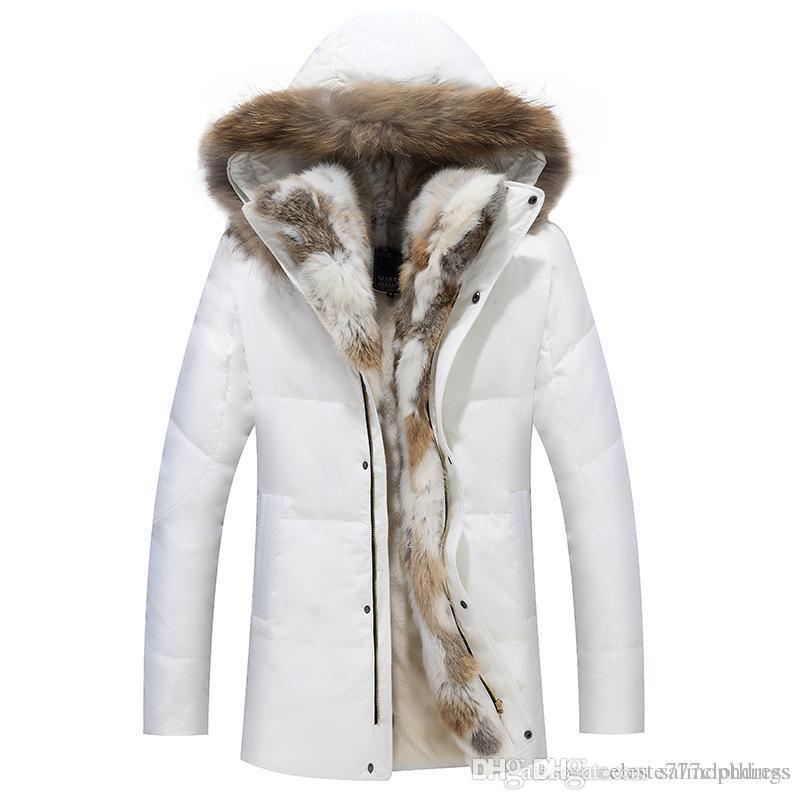 Winter Men's Duck Down Jackets Coats Real Rabbit Fur Men Women Lovers Fashion Thick Warm Parka Classic Mens jaqueta masculina