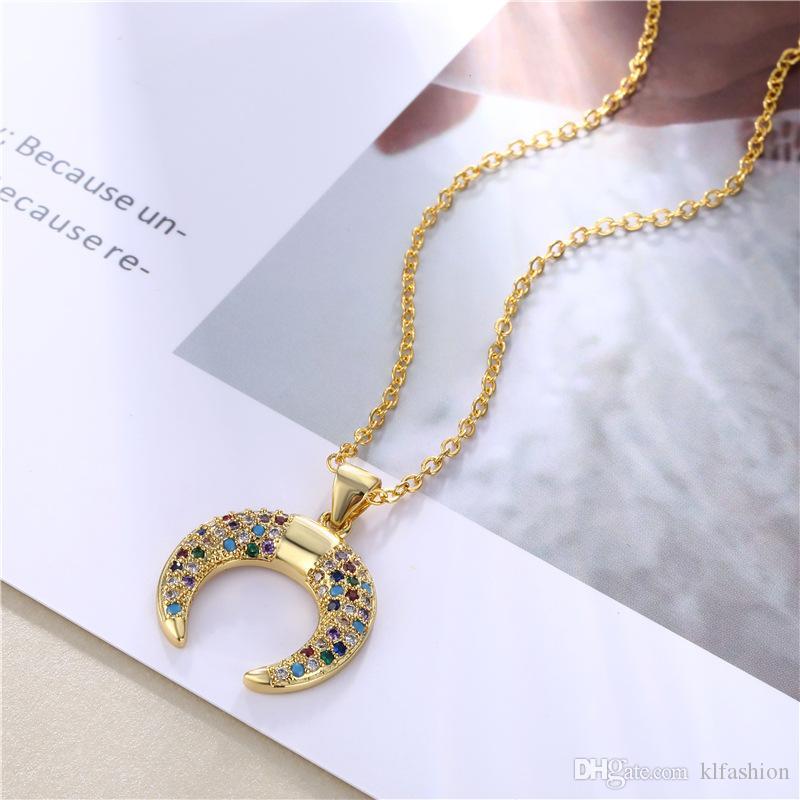Новое прибытие Радуга CZ Луна кулон ожерелье для женщин полумесяц Циркон Шарм мода ожерелье элегантные ювелирные изделия дамы подарок