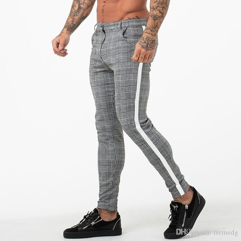 Mode Hommes Pantalons Plaid hommes Streetwear Pantalons Hip Hop Skinny Pantalons chino Slim Fit Pantalons simple Joggers camouflage armée Fitness Gyms peau