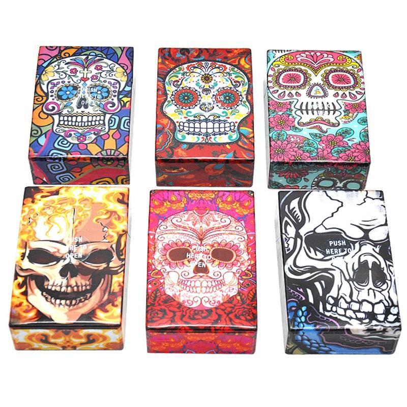 스토리지 박스 선물 담배 컨테이너 8 흡연 진흥 자동 롤링 담배 케이스 플라스틱 두개골 헤드 인쇄는 95mm의 10yha E1 디자인