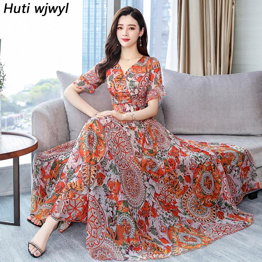 2019 Vintage Print Chiffon Boho Maxi Sundress Plus Size Beach Vacation Midi Summer Dresses Elegant Women Bodycon Party Vestidos