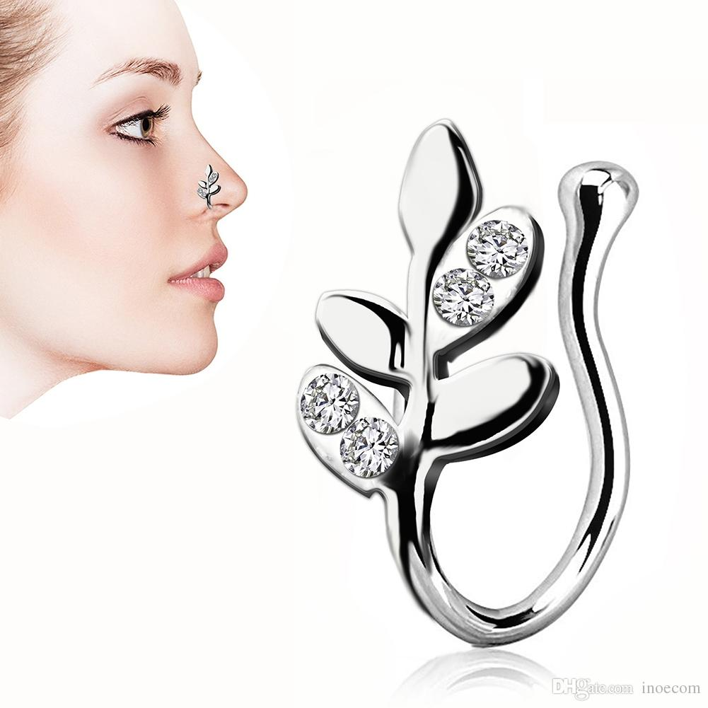 6PCS/Lot Steel Leaf Faux Nose Rings Fake Septum Rings Hoop Nostril Piercing Fake Clip on Nose Rings Oreja Piercings Jewelry