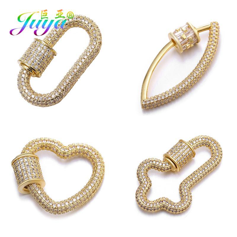 Juya DIY Mulheres Needlework Beads Jóias Fazendo Componentes Fontes de cobre Screw Fastener Pendant espiral Fecho Acessórios