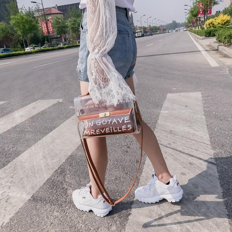 xfzBQ Sommer für Frauen 2020 neue modische transparente Mutter Schulter Kleinen kleine und Kind Tasche koreanischer Stil tragbare Schulter b-Spiel