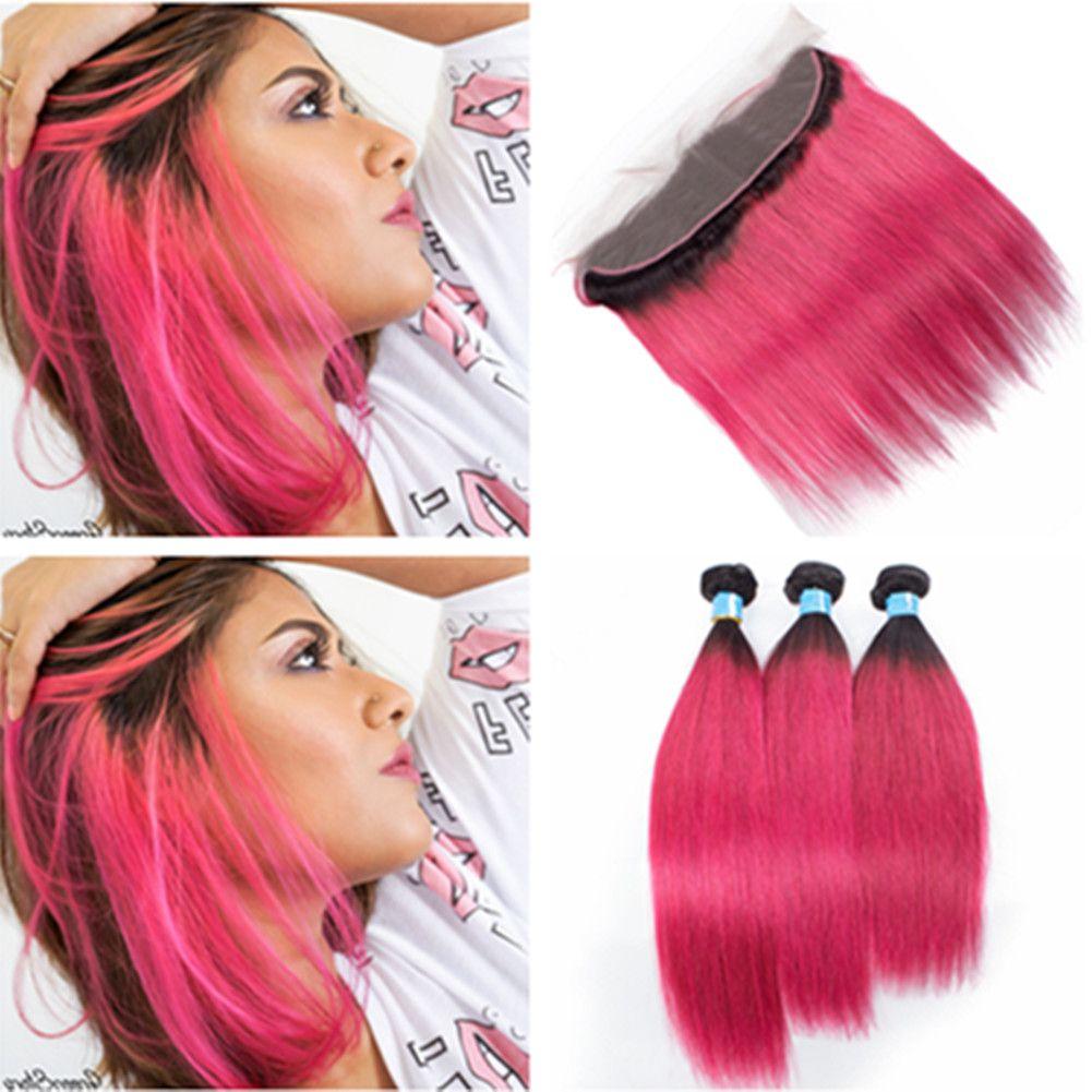 #1b розовый ломбер перуанский человеческих волос переплетения пучки с фронтальной ломбер ярко-розовый темный корень прямой кружева фронтальная закрытие 13x4 с 3Bundles