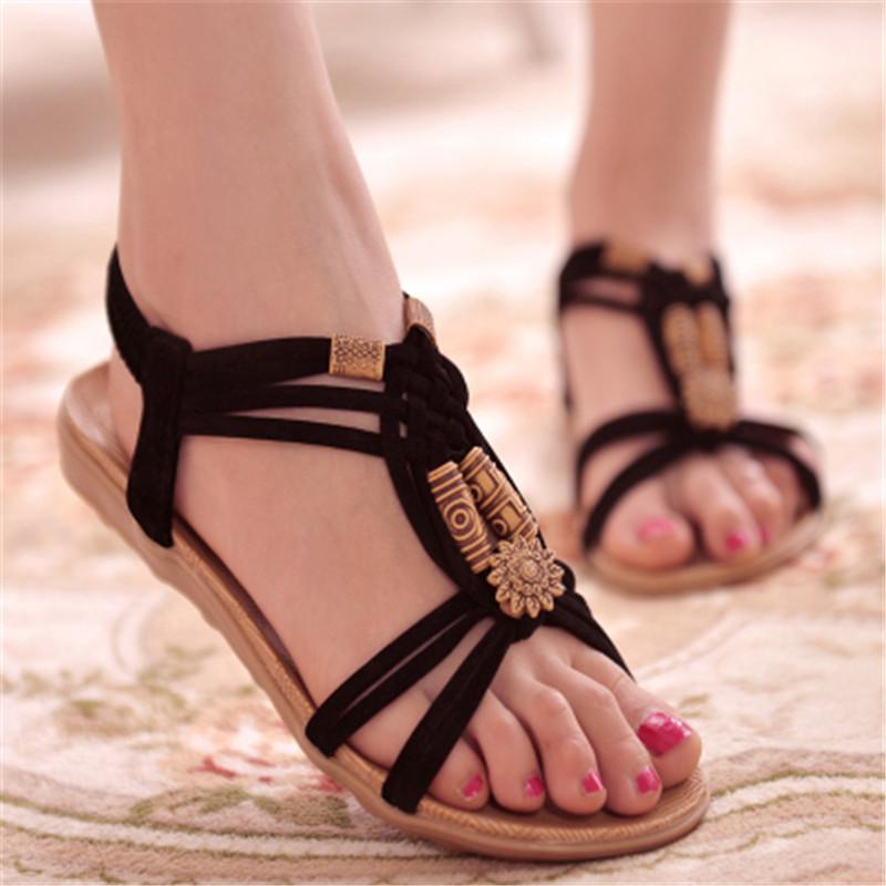 hot2020 nouvelles dames sandales d'été plage Gladiateur bohème plat occasionnels sandales femmes