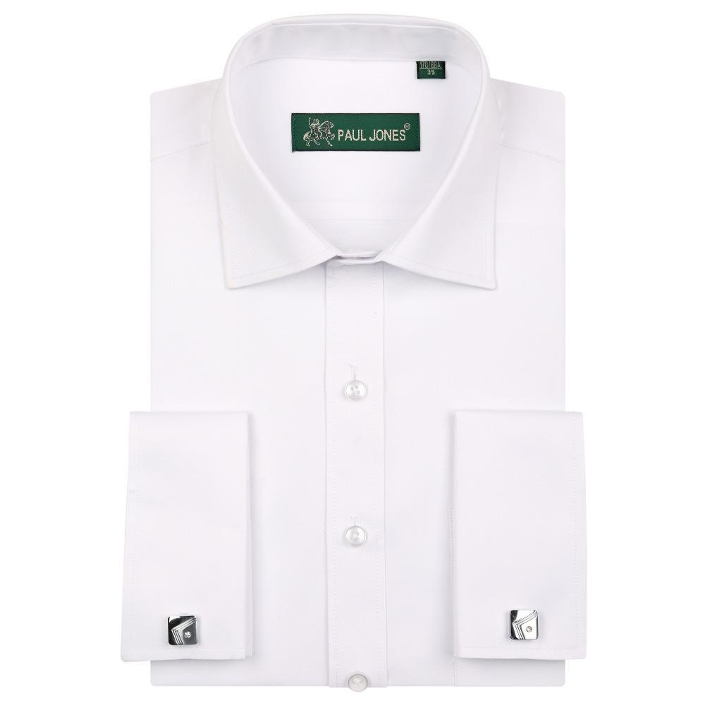 2018 Yeni yüksek kalite Fransa kol düğmesi erkek smokin gömlekler yumuşak rahat düzenli uyum katı iş adamları gömleklerinin s to5xl elbise
