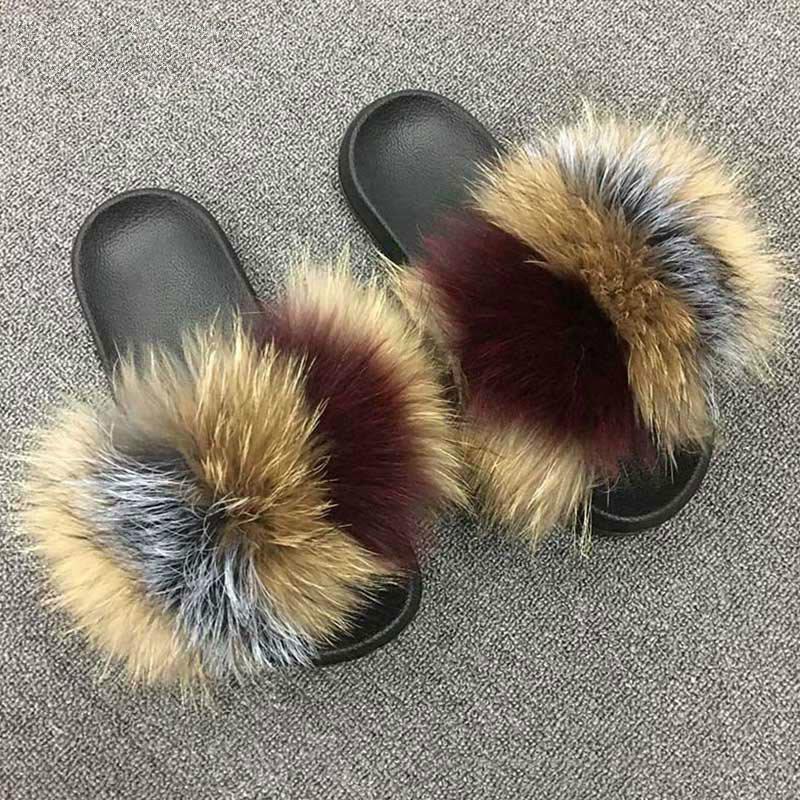 Echt Pelz Hausschuhe Frauen Pelz Rutsche Frau Sommer Pelzige Sandalen Home Hausschuhe Weibliche Fuzzy Flip Flops Casual Plüsch Schuhe
