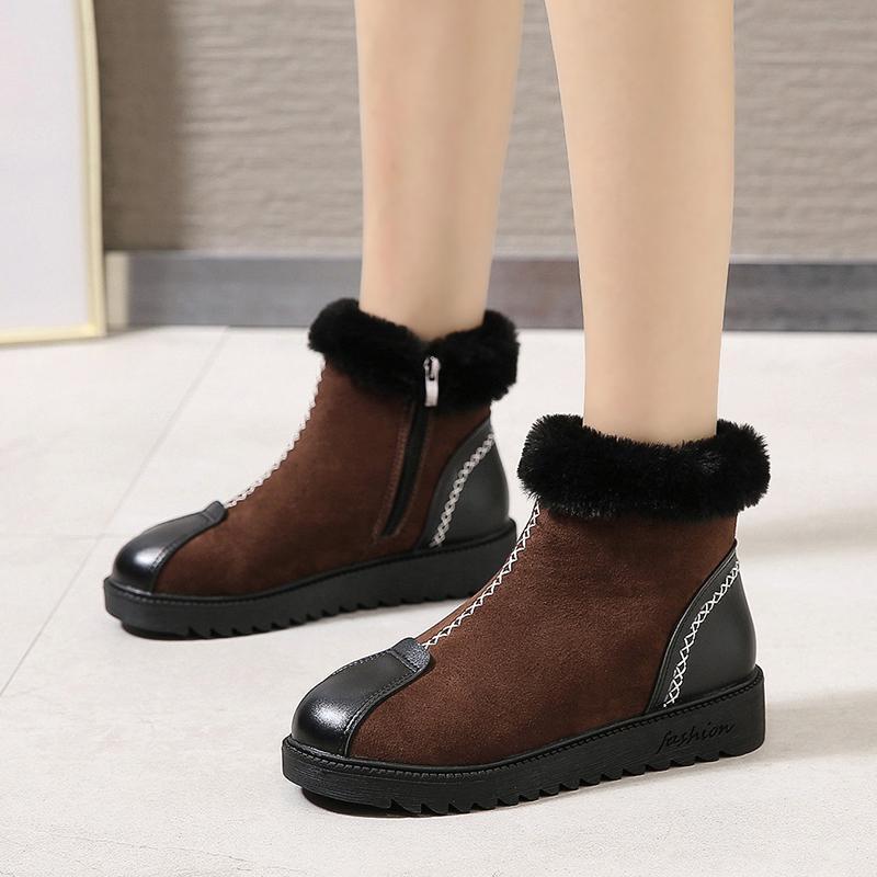 Salto Tamanho 35-50 agradável New Mulheres Botas Outono-Inverno novidade Brown Shoes Mulher planas Feminino Fur Dentro Plataforma Bota