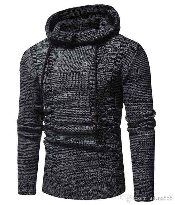 Las ventas calientes Otoño Invierno diseñador de los hombres chaquetas de la capa del suéter de tejer suéter de lana con capucha Chaqueta de punto chaqueta invierno ropa para hombre Prendas de punto.
