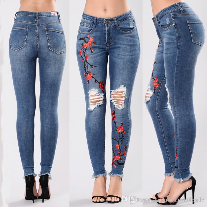 Femmes Designer Jeans Trou Brodé Chinois Style Mince Foncé Bleu Maigre Crayon Pantalon De Mode Femmes Pantalon
