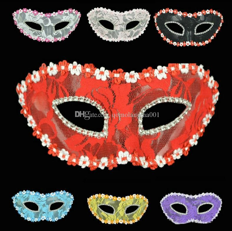 Fashion Halloween Double Color Painted Side Flower Handheld Mask Christmas Ball Performance Mask Party 6 color Christmas hot