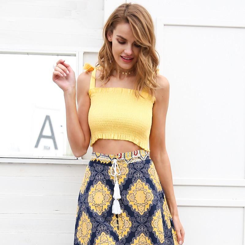 Ruffle Strap Tank Top Tees Women Crop Top Casual Fitness Dot Tube Top Camisoles Boho Print Beach Summer Tops Female Slim