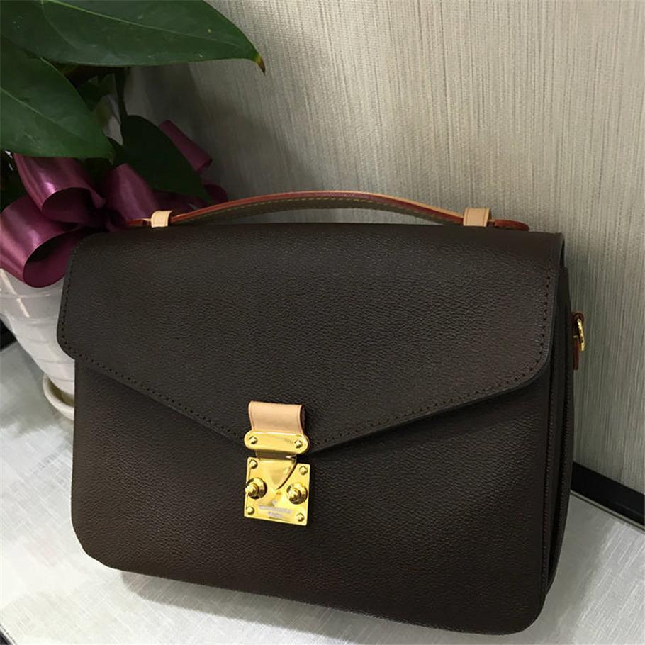 Alta calidad de las mujeres clásicas de moda bolsas de hombro bolsa de mensajero bolso de cuero real envío gratis 25 * 19 * 9 cm 40780