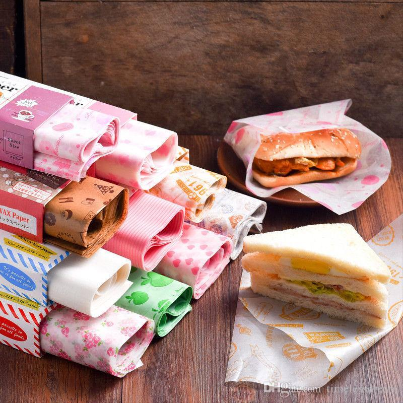 50 Folhas / Set De Papel De Cera Nougat Sabão Hamburgo Food Wrapping Papel De Cozimento De Sanduíche De Hambúrguer De Batatas Fritas Pacote De Papel De Cera