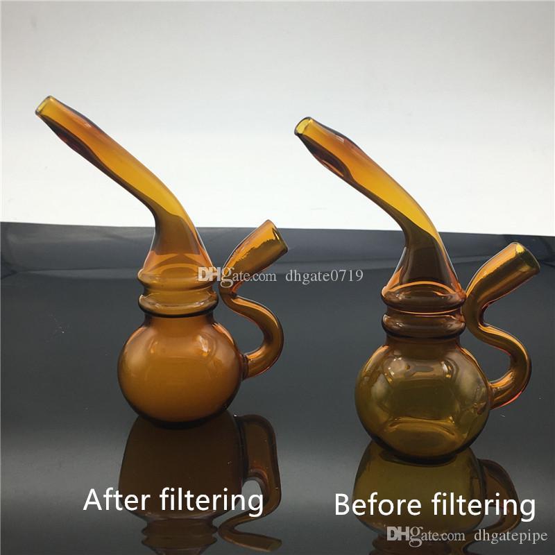 Mini nuevo llega fumar rodando papel seca hierba boquilla de vidrio olla de agua filtro de cigarrillo pipa de calabaza tubería