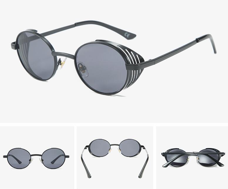 Новые поляризованные Steampunk Солнцезащитные очки Женщины Мужчины Ретро очки Круглые очки сплава пара панк в стиле ретро моды очки óculos-де-золь
