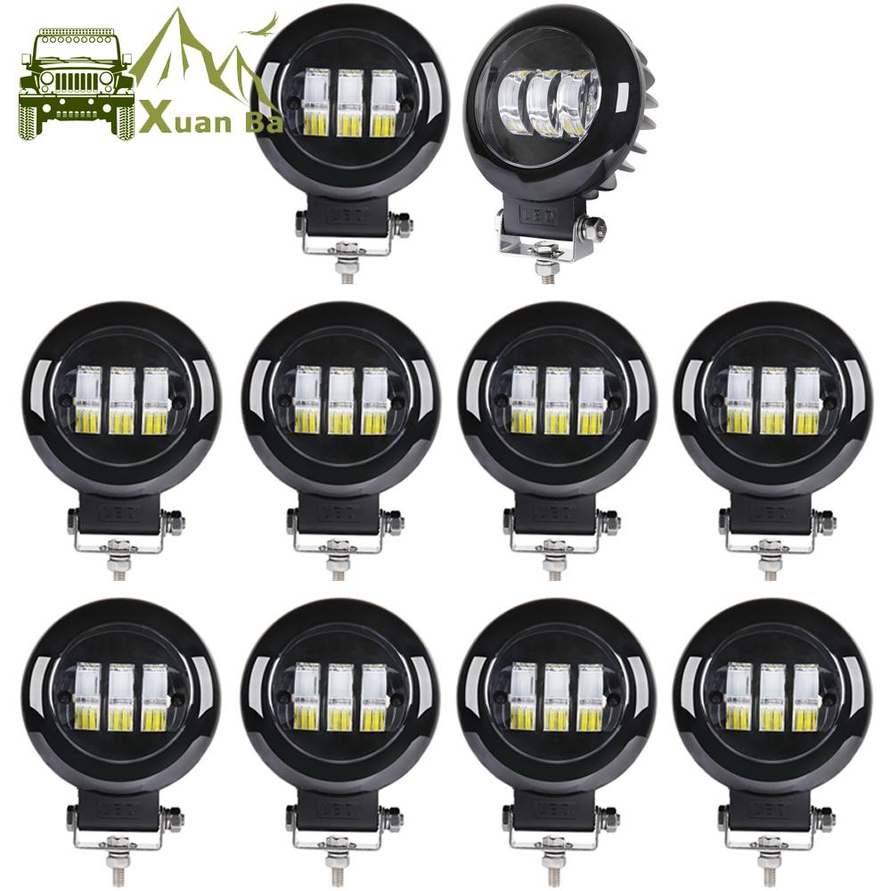 XuanBa Wholesale 10Pcs 5 Inch Round Led Work Light 12V For Car 4WD ATV SUV UTV Trucks 4x4 Offroad Motorcycle Auto Working Driving Lights