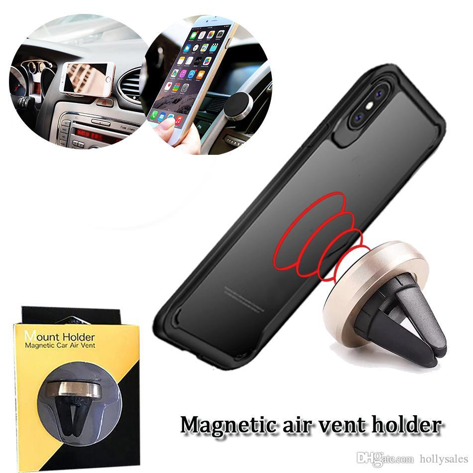 universal mini air vent car holder magnetic cellphone stand mounts adjustable rotation mobile phone mount with retail pack with two model