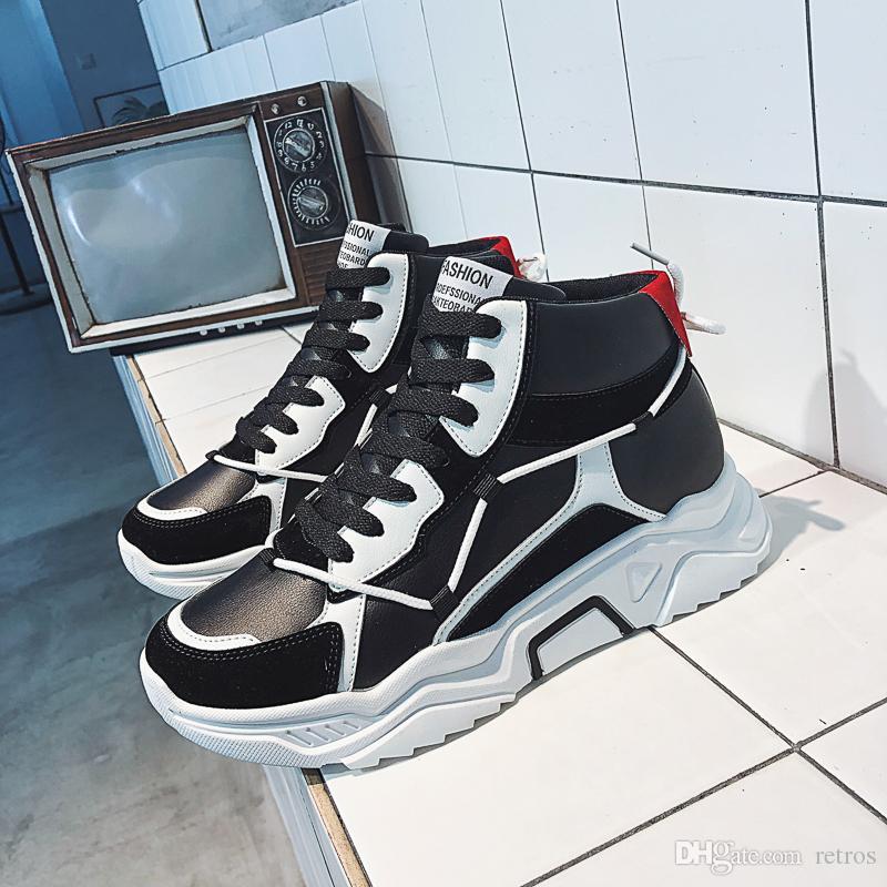 Blakc barato blanco de zapatos casual para hombres de color rojo para mujer para hombre de la plataforma zapatillas de deporte de los zapatos de cuero del deporte al aire libre ata para arriba Runner entrenador zapatos para caminar