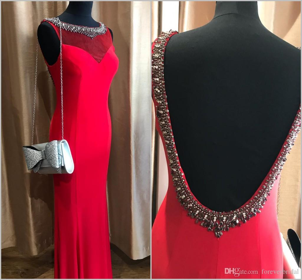 Slim Fit vestidos de noche rojos Jewel Neck Beads Elegantes vestidos formales de noche Sirena Mujer Vestidos de baile