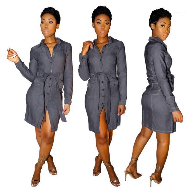Vestidos New Style mulheres roupas de grife 20SS Designer Mulheres Vestidos Simples Casual Estilo lapela Neck manga comprida com painéis