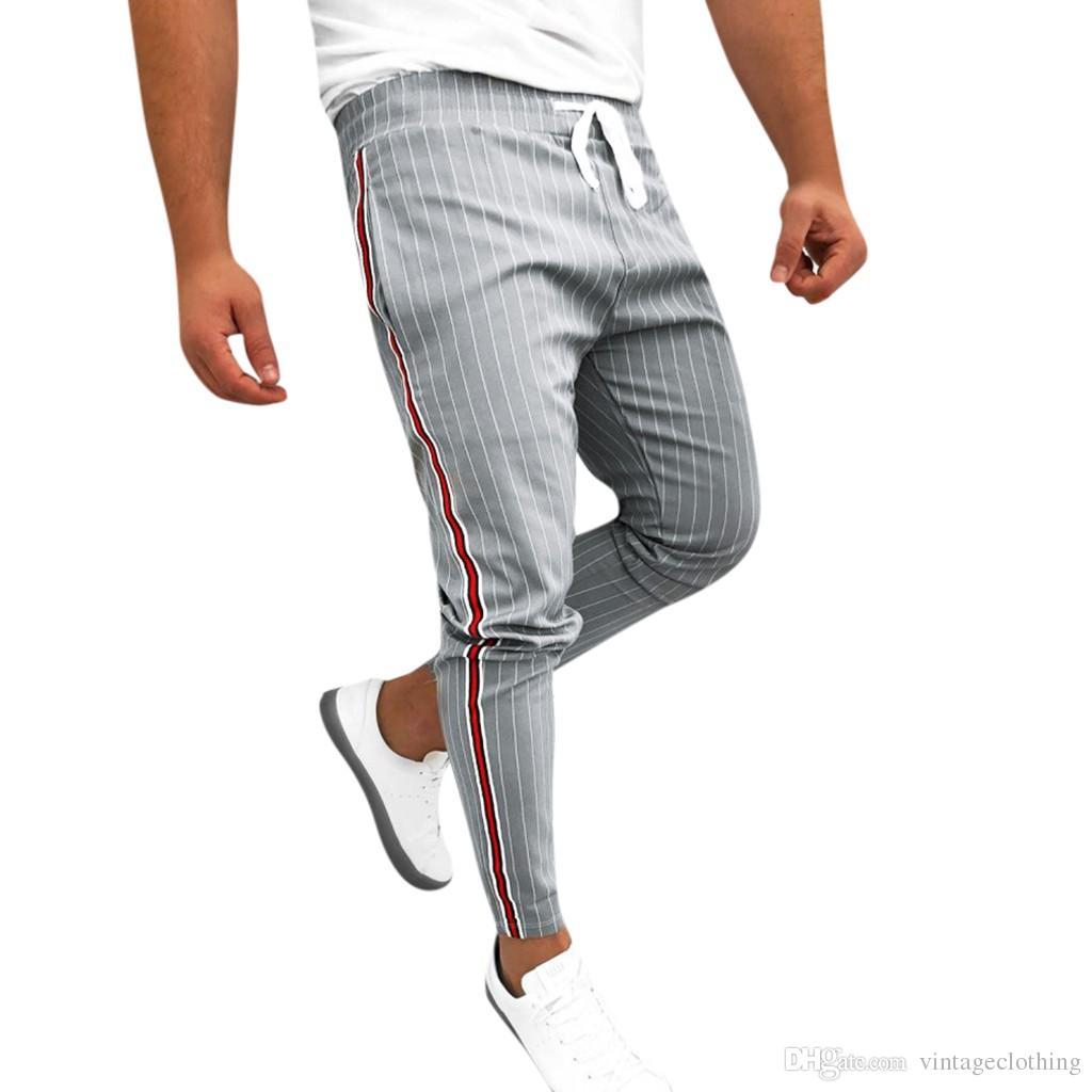 سروال الكاحل طول الكتان منقوشة السراويل الرجال الهيب هوب الرجال ركض مخطط المرقعة عارضة الرباط بنطال رياضة بنطلون طويل