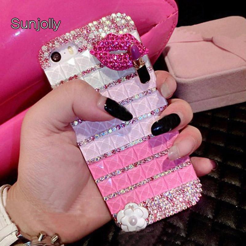 wholesale Diamond Case for iPhone X XS MAX XR 8/ 7 Plus 6/6s Plus 5s SE 5C Lips Bling Crystal Rhinestone Phone Cover coque capa