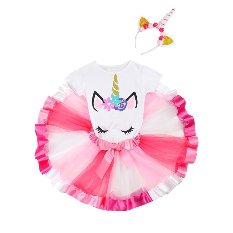 8 estilos camiseta del unicornio + + vestidos de la cabeza del aro de ropa vestido de la princesa de 3 piezas del juego de unicornio niñas vestido del tutú de los niños de diseño niñas DHL JY190