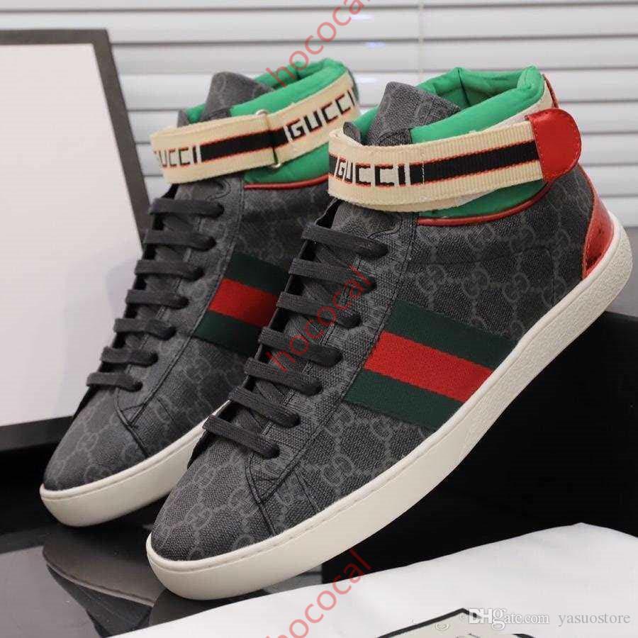 Gucci Tasche  Personel Ayakkabı kaliteli spor ayakkabı şerit yüksek top siyah derinin ayakkabı platformu ace Erkek moda rahat spor ayakkabılar tasarımcı hococal ayakkabı