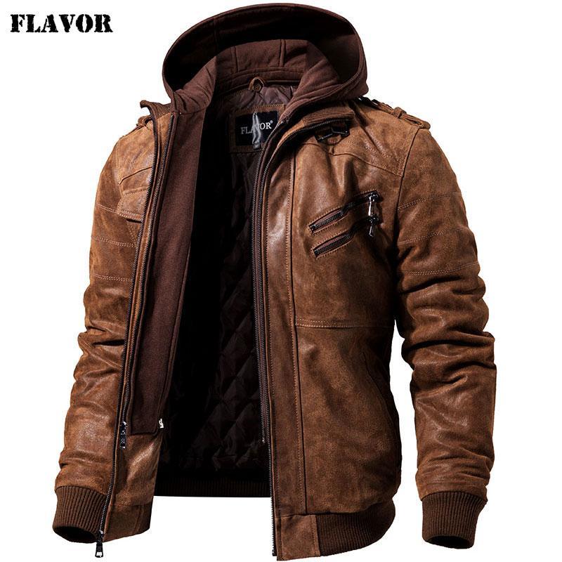 Men's Real Leather Jacket Men Motorcycle Removable Hood winter coat Men Warm Genuine Leather JacketsLY191112
