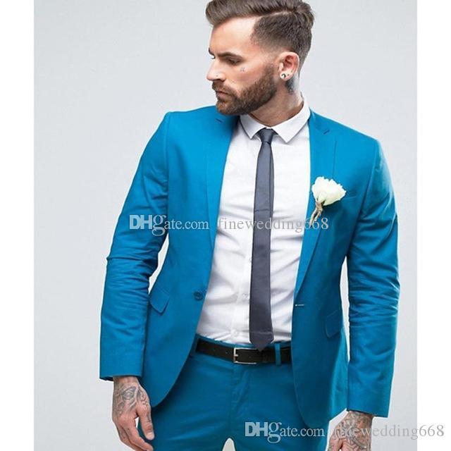 Gut aussehend One Button Groomsmen Kerbe Revers Bräutigam Smoking Männer Anzüge Hochzeit / Prom / Abendessen Bester Mann Blazer (Jacket + Pants + Tie) AA268