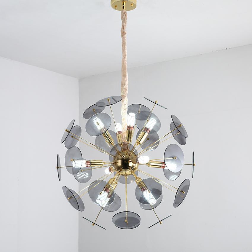 Moderne Glas-Kronleuchter Beleuchtungskörper Dia 60cm Luxus weiß grau runde Form Luster Wohnzimmer Restaurant Cafe Hängeleuchten