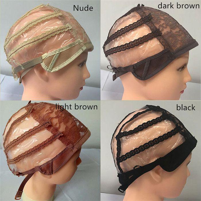 Двойной клей парик шнурка Колпачки для изготовления париков и волос Ткачество Stretch Регулируемый парик Cap 4 цвета купола крышки для парика 10pcs