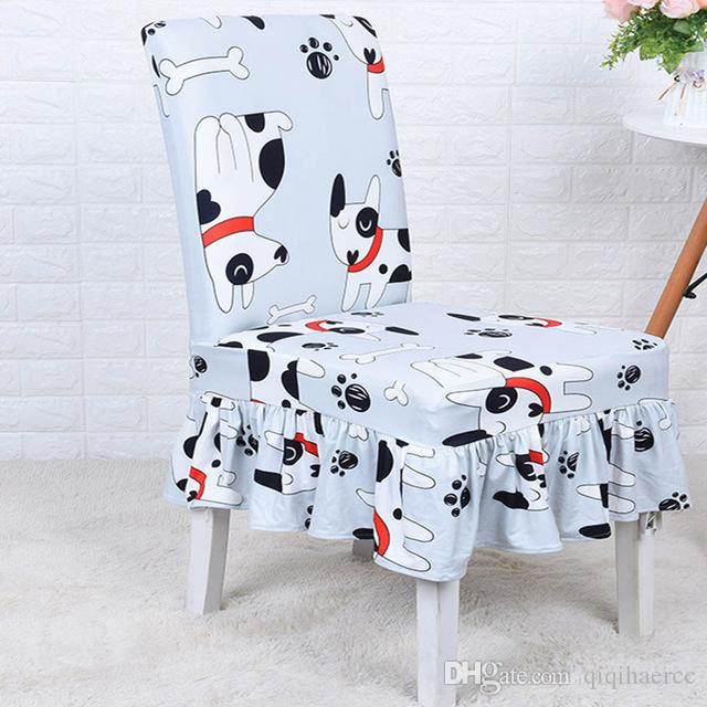 Ruffled Floral Printing Chair Covers Spandex For Wedding Dining Office Banquet Stretch Elastic Flounced coverings