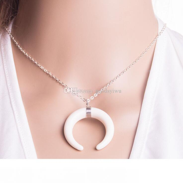 Various Colors Silver Gold Plated Wire Wrap Double Horn & moon crescent Bone Tusk shape jade stone Pendant Necklaces
