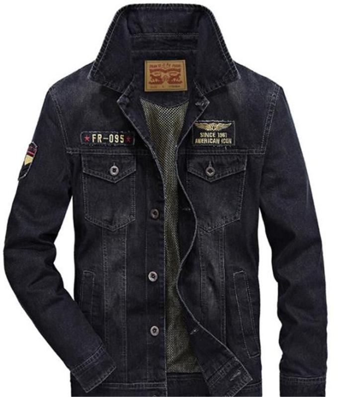Tasarımcı Jean Ceket Gevşek Epaulet Tek Breasted Erkek Jean Ceket Casual Erkek Giyim Vintage Moda Erkek