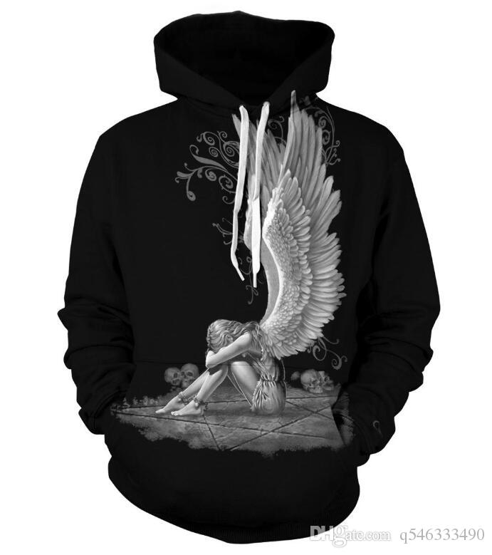 2019 new men's 3D digital printing hooded sweater large size fashion man