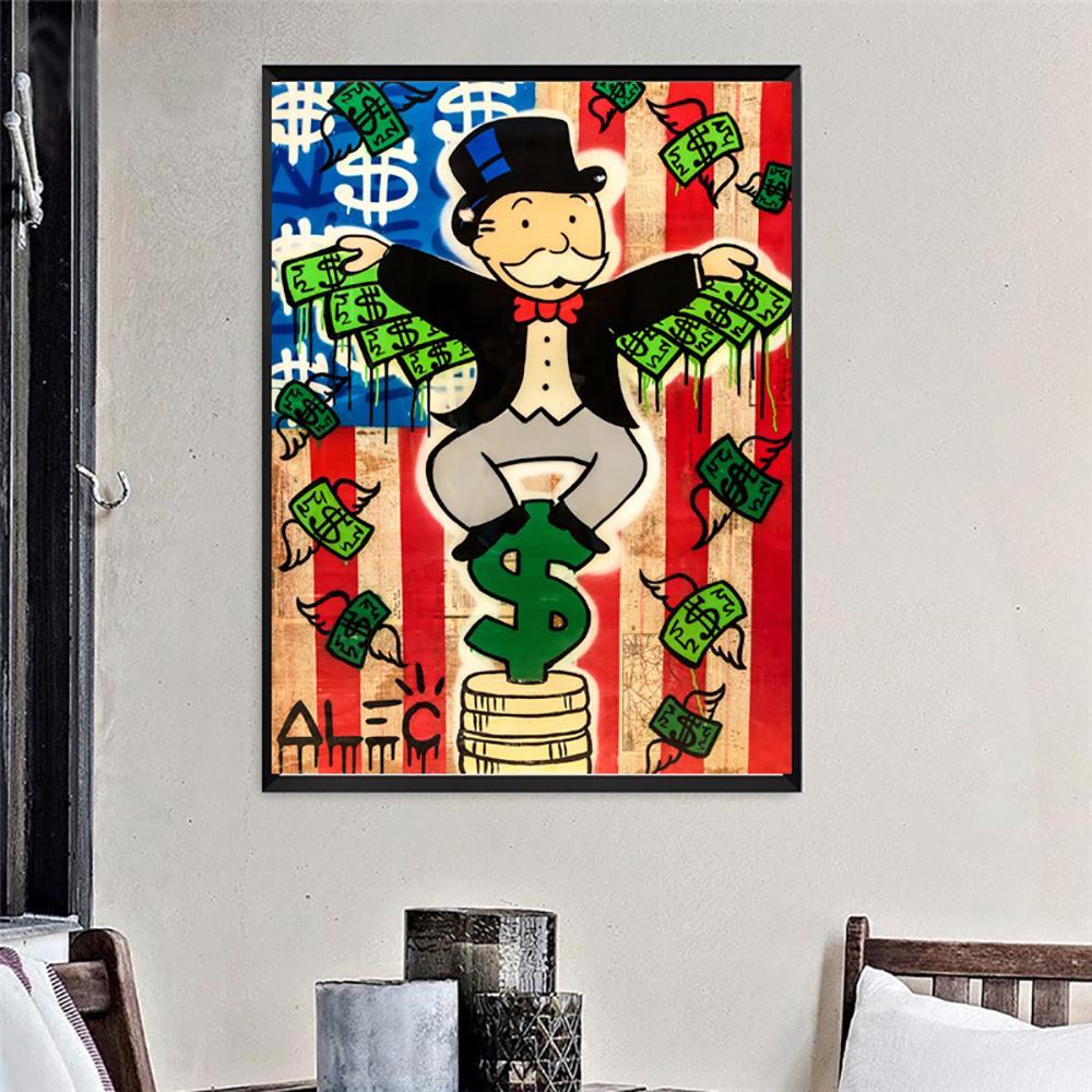 Alec Monopole Geld Flügel Dollar Street Art Graffiti Leinwand Malerei Poster Drucke Bild Für Wohnzimmer Poster Wand Dekor