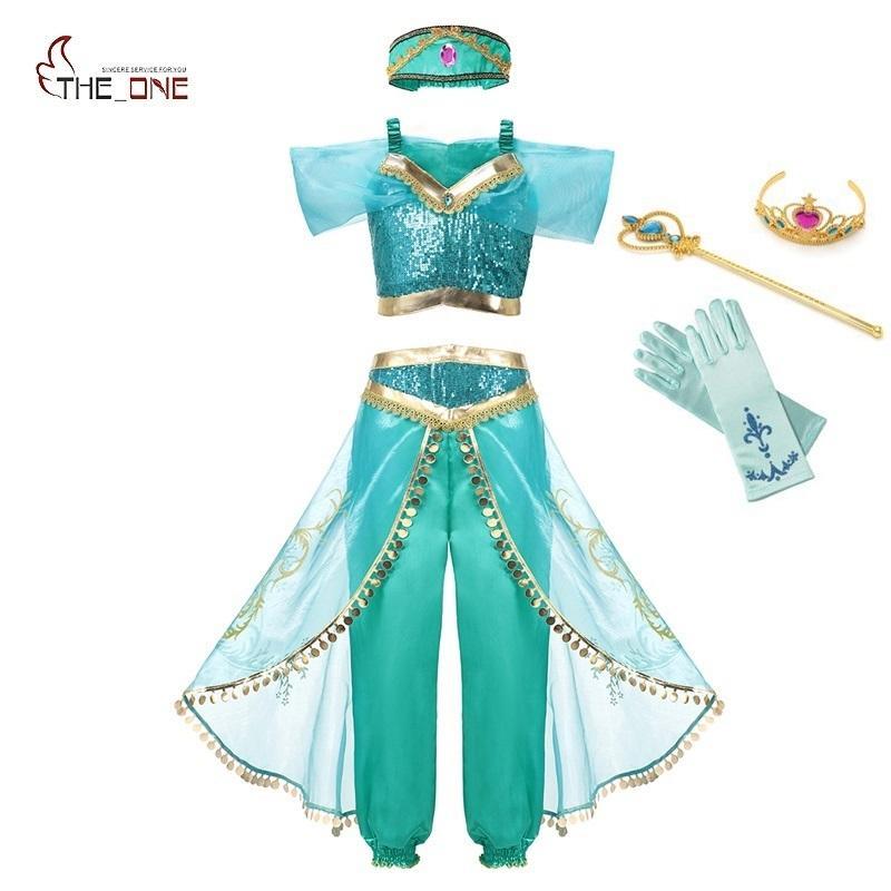 Muababy Yaz Kız Arap Prenses Yasemin Giydir Kostüm Çocuk Kolsuz Pullu Cosplay Elbise Çocuk Parti Fantezi Q190522