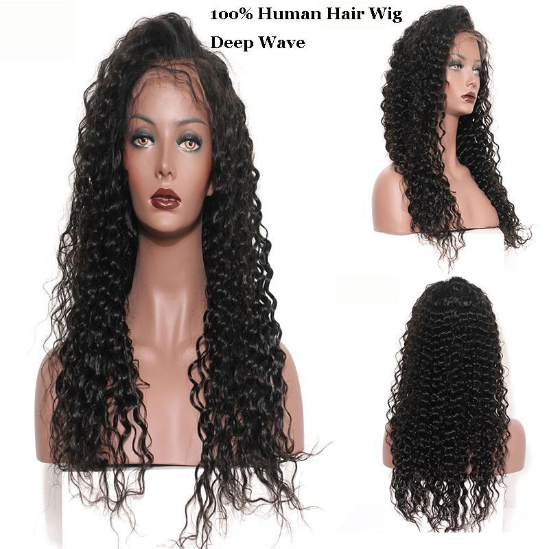 I Deep Wave Lace Frontal Wigs With Baby Hair Peruvian Indian 100 %Virgin Human Hair 150 %Density Natural Color 10 -28 Inches