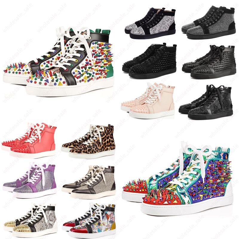 Erkekler Kadınlar Parıltı Parti Sevenler Orijinal Sneaker İçin Kutu Yeni ACE Tasarımcı moda Kırmızı Bottoms ayakkabı Çivili Dikenler Düz ayakkabı ile