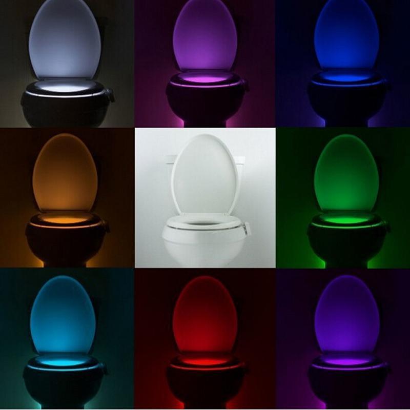 LED Toilet Nightlight Activated Light Lampara De Sensor Sensitive Dusk to Dawn Battery-operated Lamp Body On/Off Seat Sensor PIR Lamp