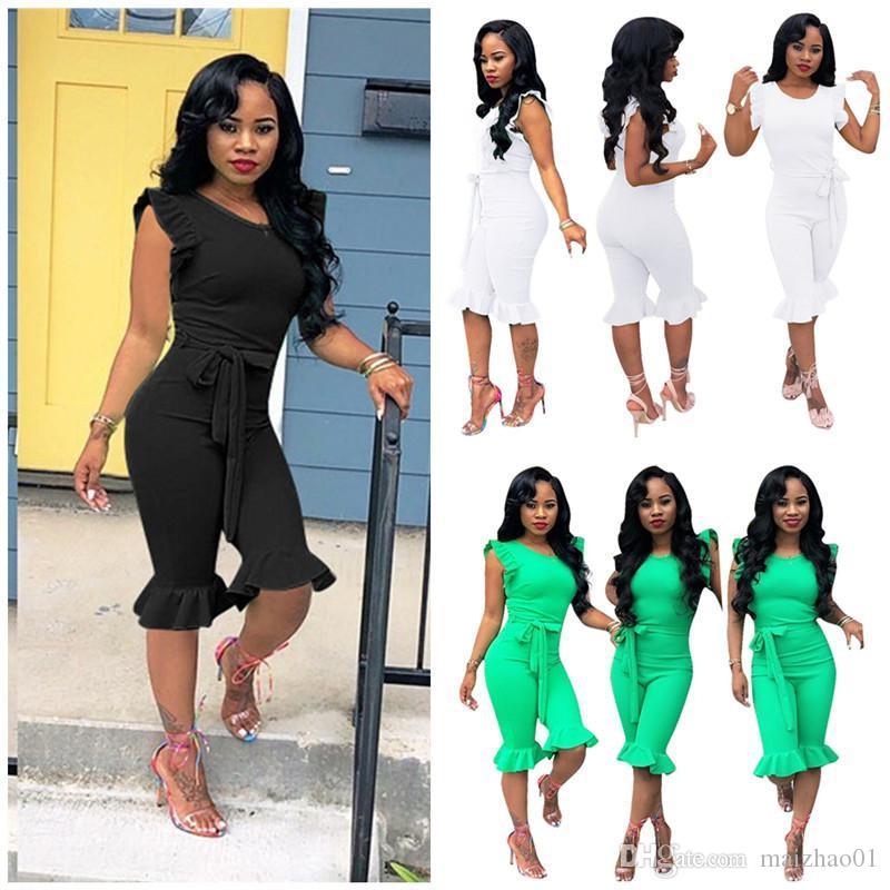 Мода Женщины Комбинезон с коротким рукавом футболки Rompers Solid Color Falbala Дизайнер Комбинезоны Summer Цельный Bodysuit Romper одежды New