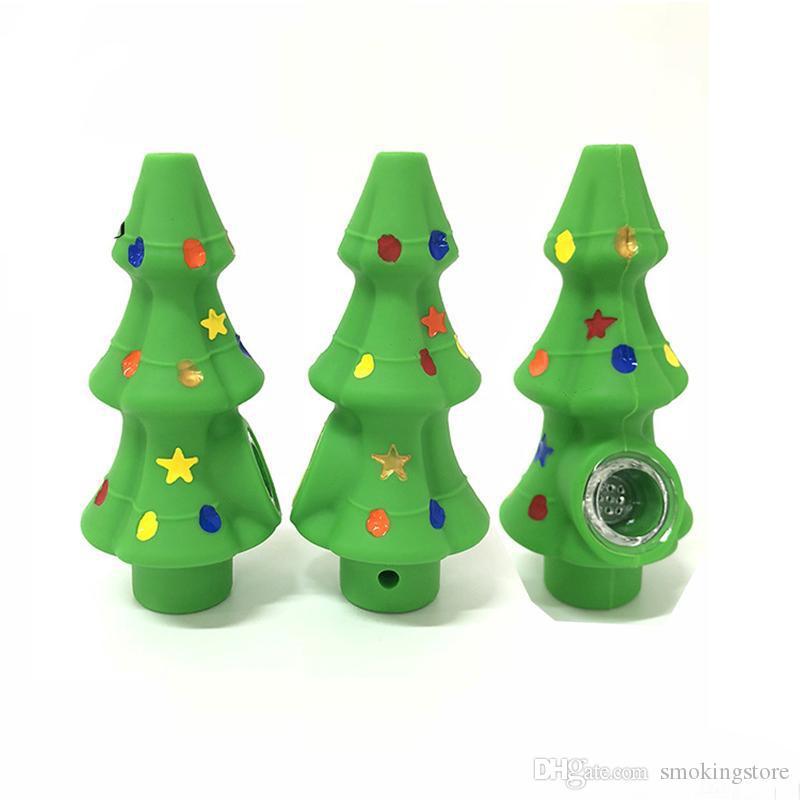 Barato de silicona Tubo árbol de navidad de pipas de fumar portátil Humo de Tabaco mano Cuchara Accesorios hornilla de aceite de vidrio grueso cuenco