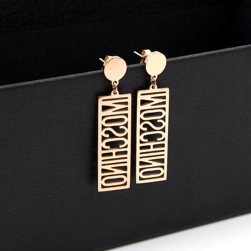 2019 Moda largos ahuecados letras inglesas pendientes de oro rosa pendientes de amor para las mujeres regalo
