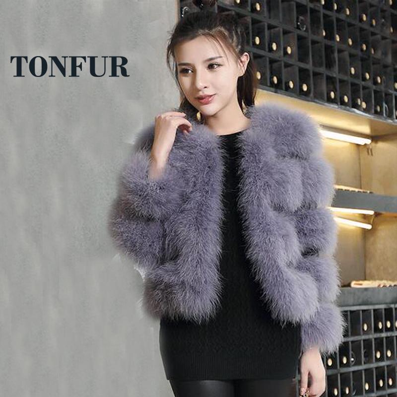2019 nueva venta caliente 100% real Escudo piel de la avestruz naturales de punto chaqueta de la pluma de Turquía de fábrica al por menor al por mayor de Personalizar TSR114